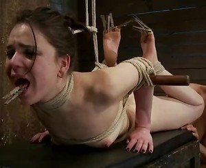 Naughty Isis Love finger fucks this tied up babe
