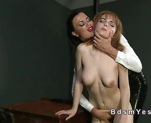 Tall busty mistress Jasmine toying redhead sub Lola