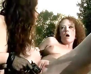 Turned on lesbian babes sticking gun in their cunts