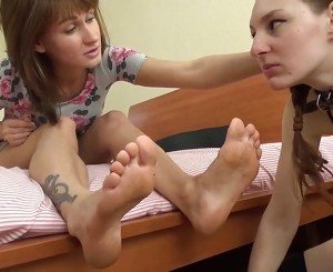 Lesbian Slave Licks Feet and Shoes, Free Porn d7: