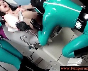 Perverted lesbians in latex piss gynecologist chair
