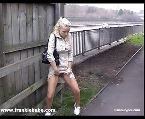 Kinky blonde babe has a fetish for pissing in public