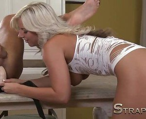 StrapOn Stunning blonde penetrates his anal passage
